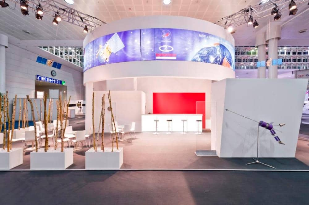 Reshetnev ISS Messestand auf der CeBIT 2012 in Hannover
